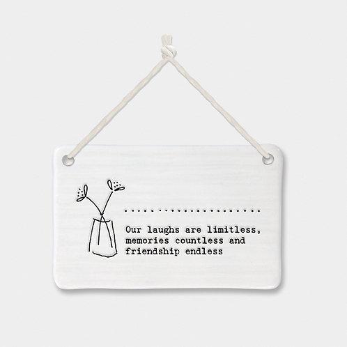 Porcelain Rectangle 'Endless Friendship' Hanging Sign