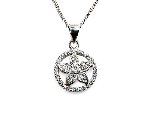 The Eternal Frosted Flower 925 Sterling Silver Heart Necklace