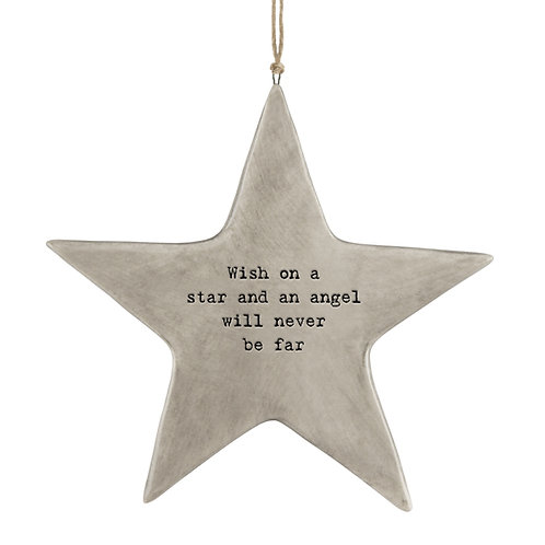 Rustic Porcelain Star 'Wish on a star' Hanging Sign