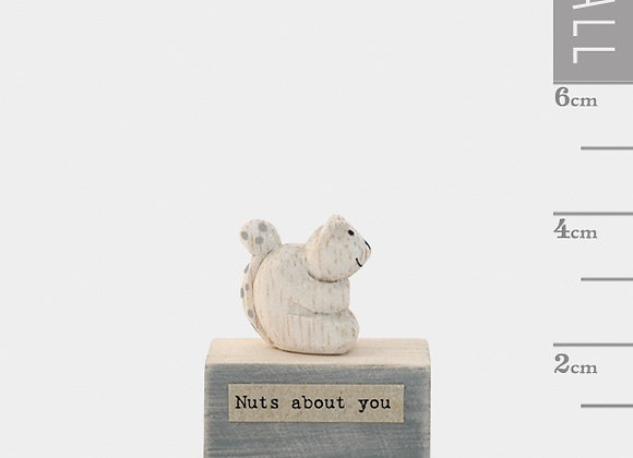 Little Wooden 'Nuts About You' Mini Squirrel Figurine