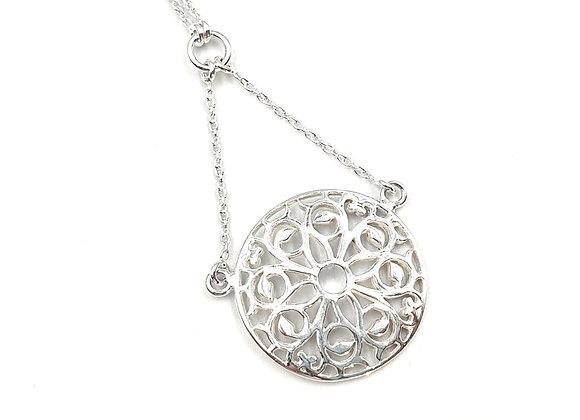 mandala necklace, mandala, silver mandala, silver mandala necklace, sterling silver mandala necklace, necklace, silver,