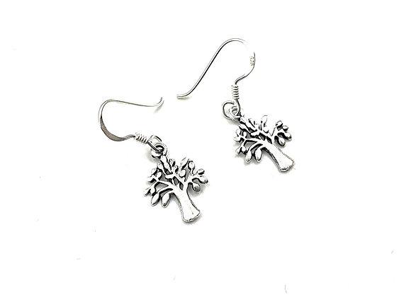 cherry, tree, cherry tree, earrings, drop earrings, silver, silver cherry tree drop earrings, tree drop earrings, sterling,