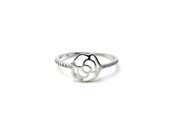 925 Sterling Silver Elegant Rose Ring