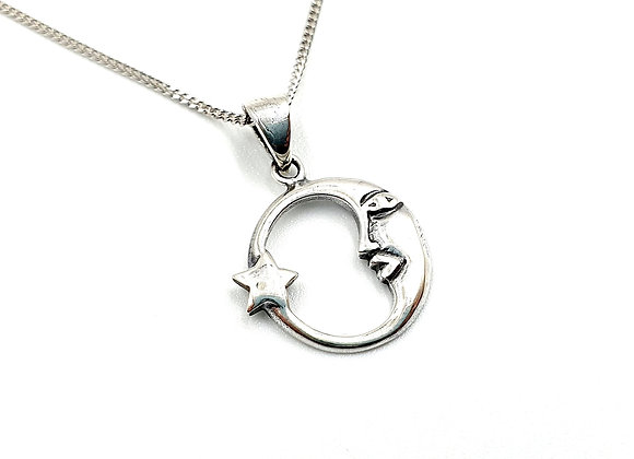 Silver, Necklace, Moon, Moon necklace, Silver Moon Necklace, Sterling Silver Moon necklace, Silver Necklace, Sterling Silver,