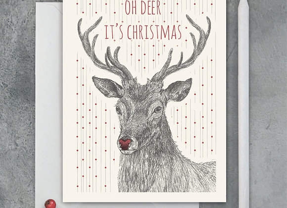 Oh Dear it's Christmas, Reindeer Greeting Card A6