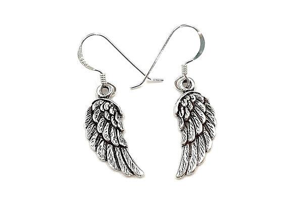 Angel, Wing, Drop, Earrings, Angel Wing Drop Earrings, Silver Angel Wing Drop Earrings, Sterling Silver Drop Angel Earrings,