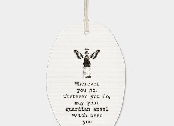 Angel Porcelain Oval 'Guardian Angel' Hanging Sign