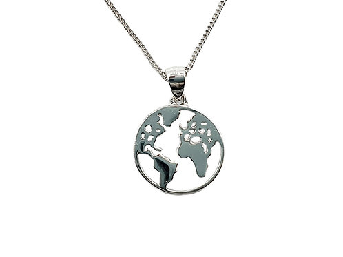 The World Map Circle 925 Sterling Silver Necklace