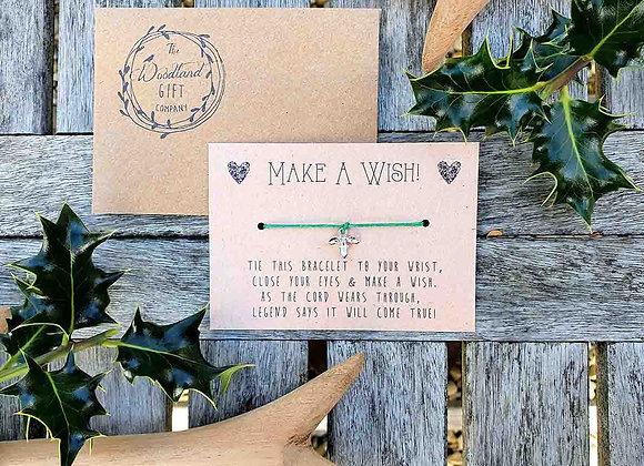 Christmas Green Holly Leaf Wish Bracelet