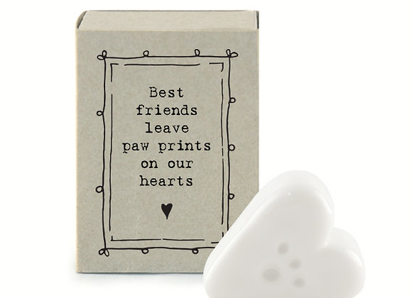 Little Matchbox Porcelain 'Paw Heart' Mini Heart Figurine