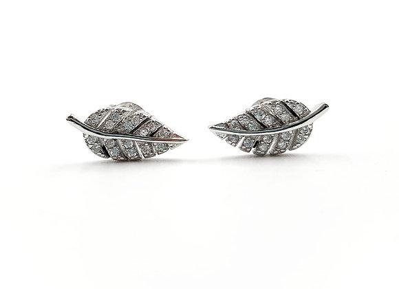 The Graceful Leaf CZ 925 Sterling Silver Stud Earrings