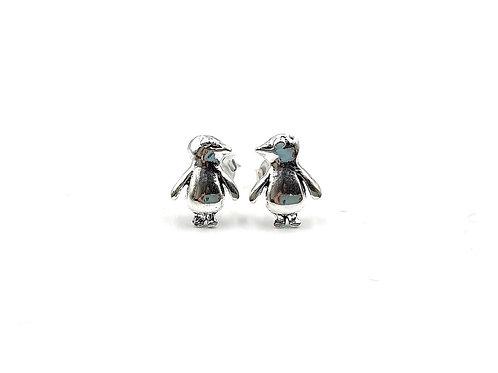 Penguin, Penguin Earrings, Silver Penguin Earrings, Silver Penguin Studs, Sterling Silver Penguin Earrings, penguin studs,