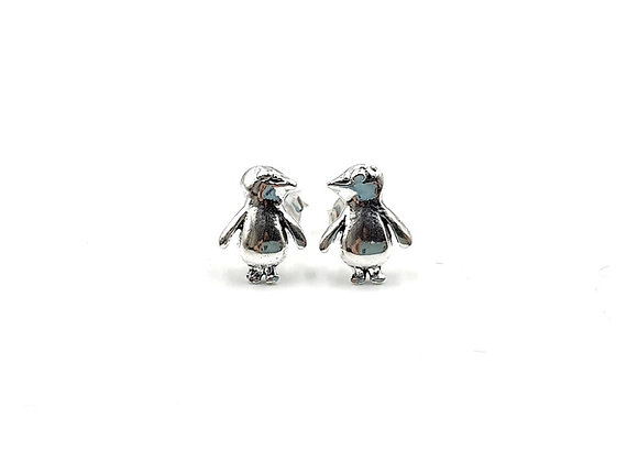 Penguin, Penguin Earrings, Silver Penguin Earrings, Silver Penguin Studs, Sterling Silver Penguin Earrings, penguin studs,
