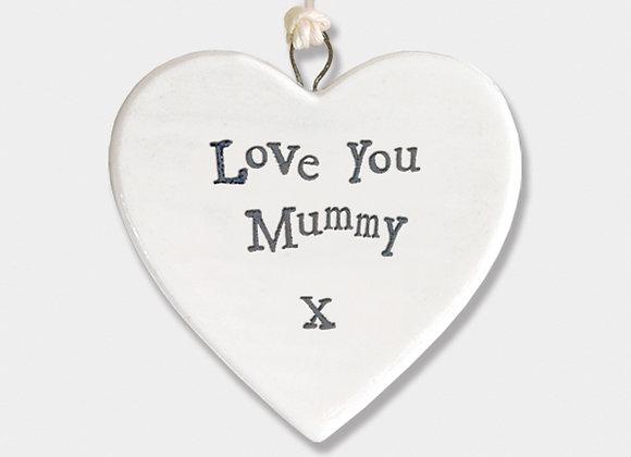 Mini Porcelain Heart 'LOVE YOU MUMMY' Little Hanging Sign