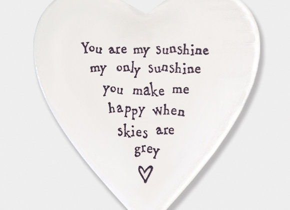 Smooth Porcelain Heart 'You are my Sunshine' Coaster