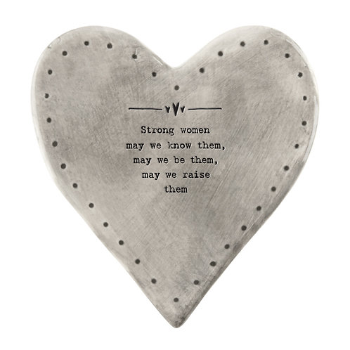 Rustic Porcelain Heart Coaster 'Strong Women'