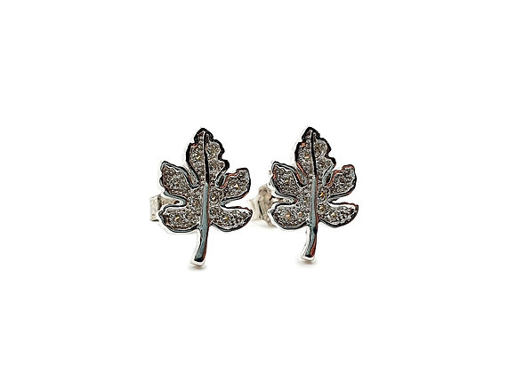 The Sparkling Maple Leaf Sterling Silver CZ Stud Earrings