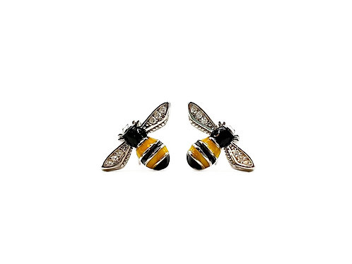 The Enamelled Bees 925 Sterling Silver Studs