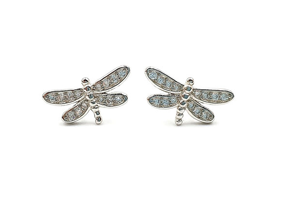 The Frosted Dragonfly 925 Sterling Silver Stud Earrings