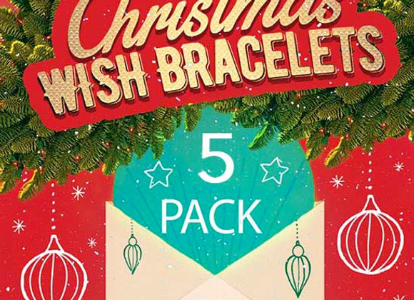 CHRISTMAS 5 PACK OF MIXED WISH BRACELETS