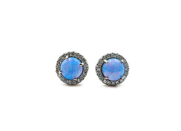 The Blue Opaline & Clear Cubic Zirconia Sterling Silver Stud Earrings
