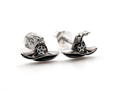 Witches Hat Stud Earrings 925 Sterling Silver