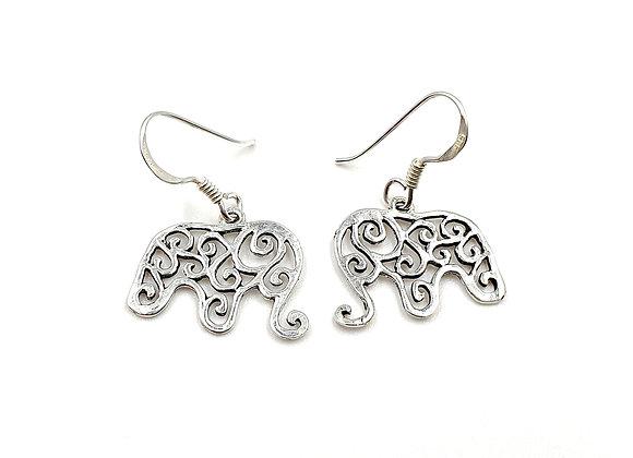 Elephant, Drop, Earrings, Elephant Drop Earrings, Silver Elephant Drop Earrings, Sterling Silver Elephant Drop Earrings,