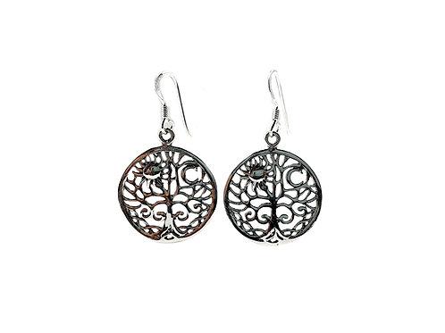 Sun & Moon 925 Sterling Silver Drop Earrings