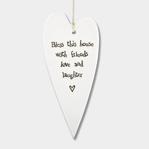 Long Porcelain Heart 'Bless this House' Hanging Sign