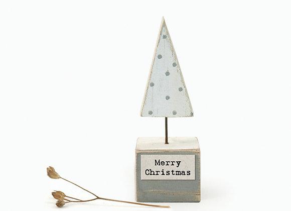 Little Wooden 'Merry Christmas' Mini Christmas Tree Figurine