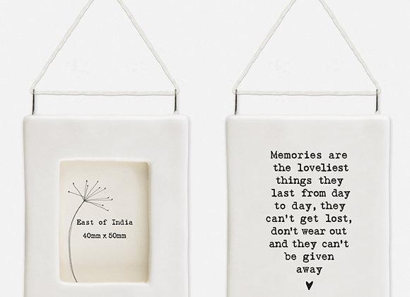 'Memories' Little Porcelain Hanging Frame