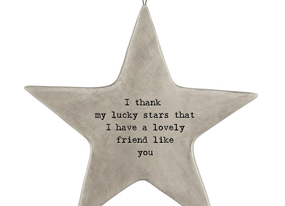 Rustic Porcelain Star 'Lucky Stars' Friendship Hanging Sign