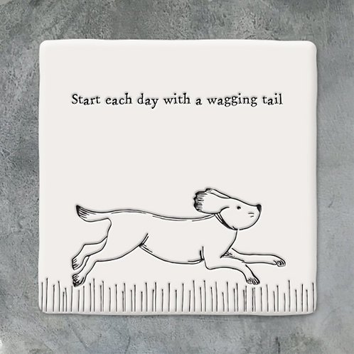 Porcelain 'wagging tail' Square Illustration Coaster