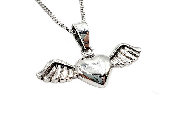The Flying Angel Wing Heart 925 Sterling Silver Necklace
