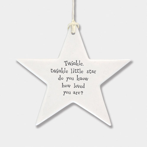 Smooth Porcelain Star 'Twinkle Twinkle' Hanging Sign