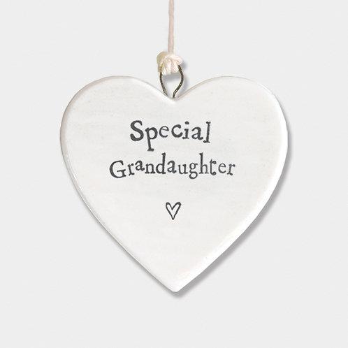 Mini Porcelain Heart 'Special Granddaughter' Little Hanging Sign