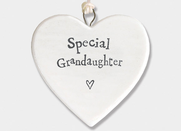 Mini Porcelain Heart 'Special Grandaughter' Little Hanging Sign