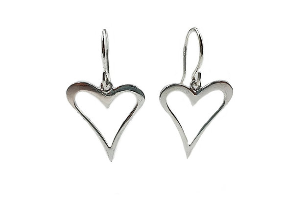 Drop Earrings, Heart, Heart Drop Earrings, Silver Heart Drop Earrings, Sterling Silver Drop Heart Earrings, Love, Love Heart,