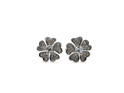 The Winter Flowers 925 Sterling Silver CZ Stud Earrings