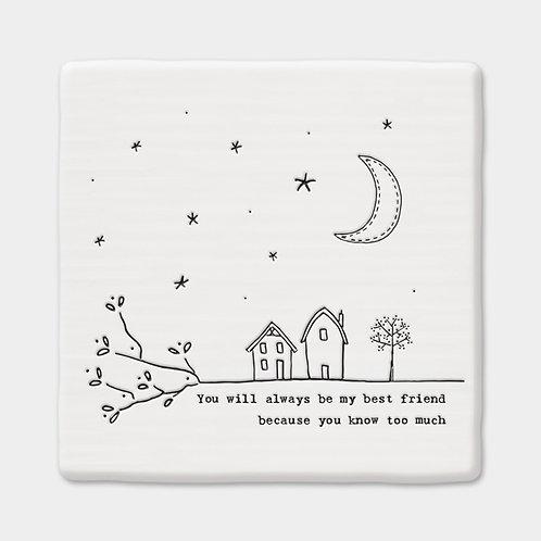 Porcelain 'Best friends' Square Illustration Coaster