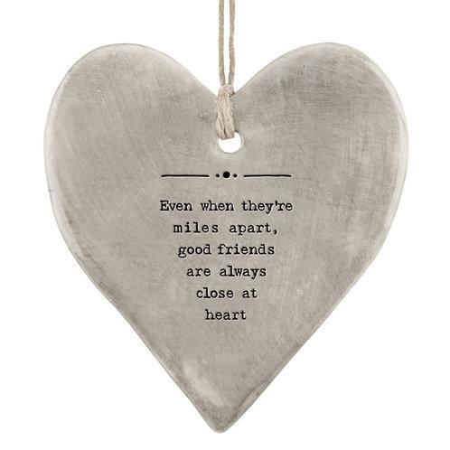 Rustic Porcelain Heart 'Miles Apart' Hanging Sign