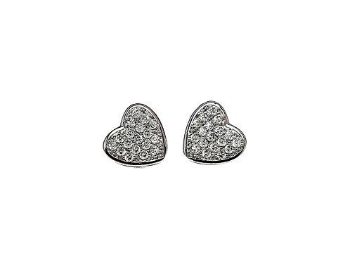 The Little Frosted Love Heart 925 Sterling Silver Stud Earrings