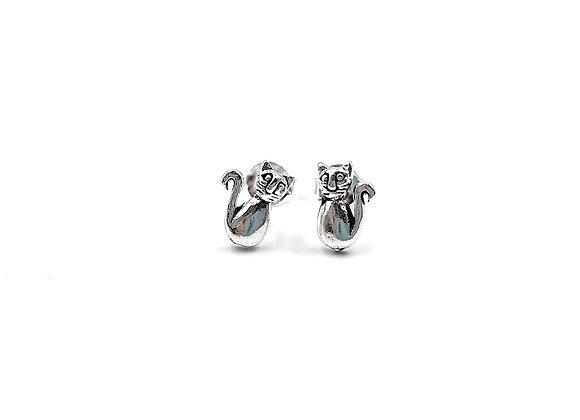 Sterling Silver Earrings, Cat, Cat Earrings, Silver Cat Earrings, Silver Cat Studs, Sterling Silver Cat Earrings, Cat studs,