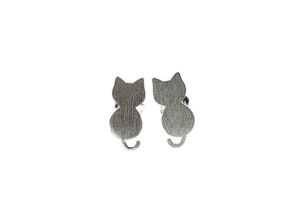 The Brushed Silver Cats 925 Sterling Silver Stud Earrings
