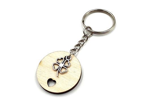 The Four Leaf Clover (Irish Luck) Woodland Key Ring