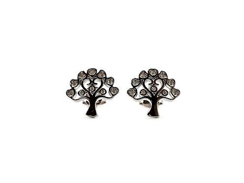 The Heart Tree CZ 925 Sterling Silver Stud Earrings