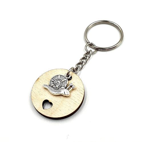 Key, Ring, Key ring, Keyring, Snail, Snail Keyring, Snail Key ring, Animal Key ring, Wood, Wooden Snail Keyring,