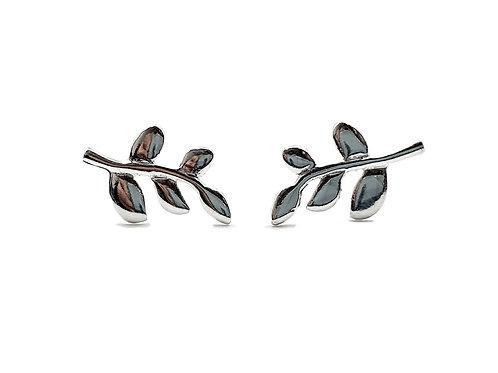 leaf, silver, sterling silver, earrings, studs, silver leaf studs, silver leaf earrings, sterling silver leaf earrings,