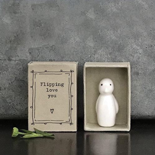 Little Matchbox Porcelain Penguin Mini Figurine