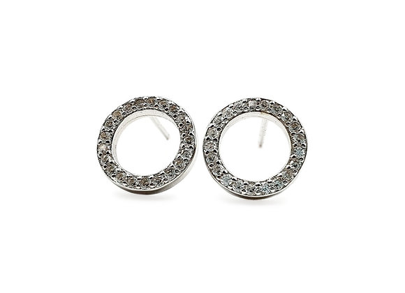 The Frosted Circle of Life Earrings 925 Sterling Silver Stud Earrings